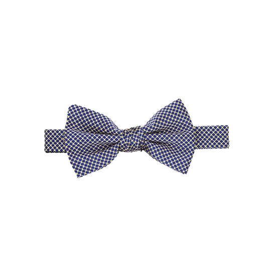 Picture of Blue & Yellow Micro Pattern Silk Bow Tie