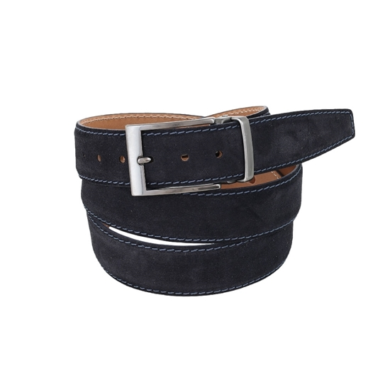 Picture of Blue stiching Calf Leather Belt - 3,5 cm. wide