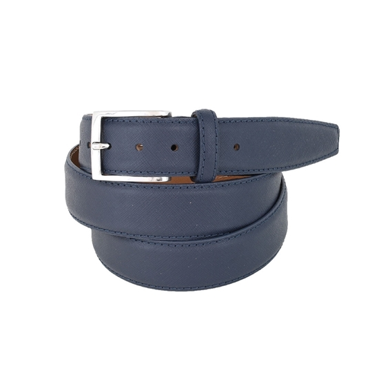 Picture of Blue Saffiano printed Calf Leather Belt - 3,5 cm. wide