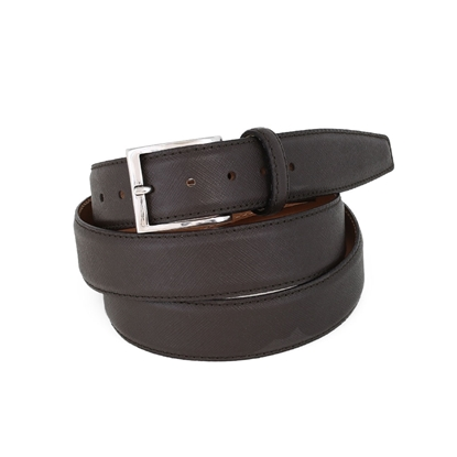 Picture of Brown Saffiano printed Calf Leather Belt - 3,5 cm. wide