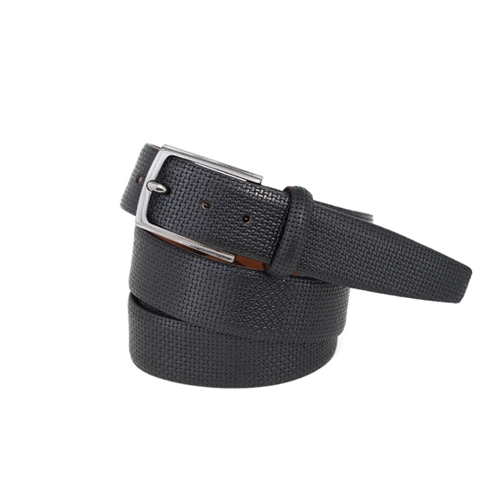 Picture of Black printed Calf Leather Belt - 3,5 cm. wide