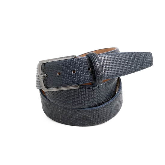 Picture of Blue printed Calf Leather Belt - 3,5 cm. wide