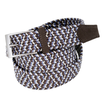 Picture of Brown , Sand & Light Blue Elastic Braided  Belt - 3,5 cm. wide