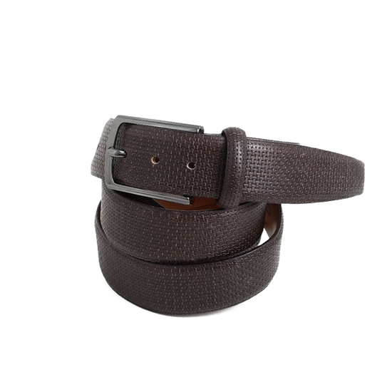Picture of Dark Brown printed Calf Leather Belt - 3,5 cm. wide