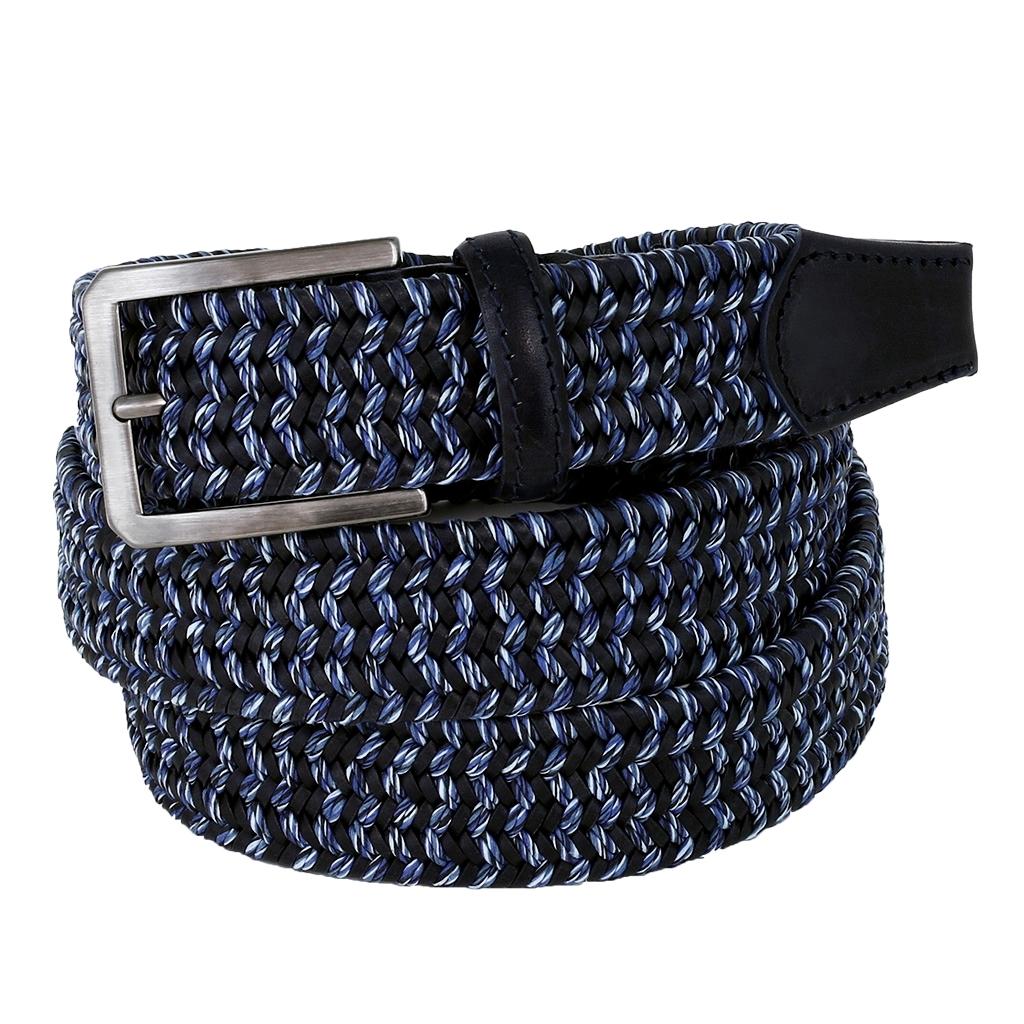 e5392b451bd74 Light Blue & Dark Blue Elastic Braided Belt - 3,5 cm. wide | Michele ...