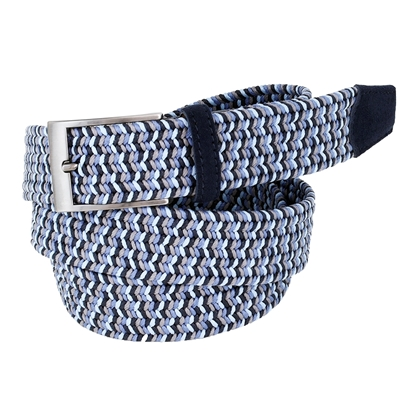 Picture of Light Blue, Grey & Dark Blue Elastic Braided  Belt - 3,5 cm. wide