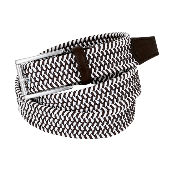 Picture of White & Brown Braided Belt - 3,5 cm. wide