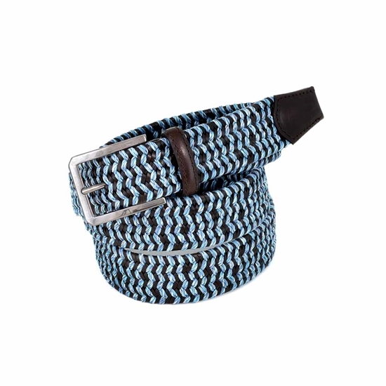 Picture of Light Blue & Brown Elastic Braided Belt - 3,5 cm. wide