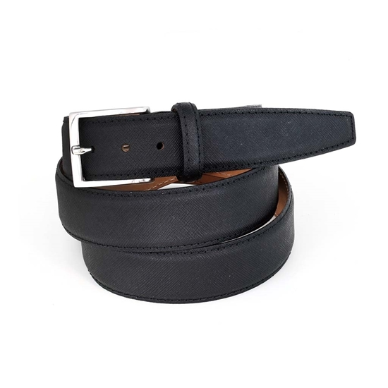 Picture of Black Saffiano printed Calf Leather Belt - 3,5 cm. wide